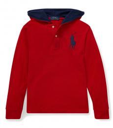Boys Red Big Pony Hooded T-Shirt