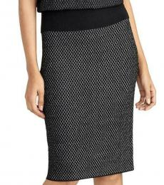 Rachel Roy Black Printed Wool Straight Knit Skirt