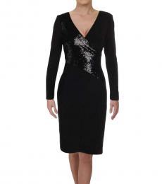 Ralph Lauren Black Multi Sequined Sheath Dress