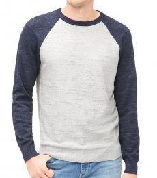 Navy Grey Raglan Budded Sweater