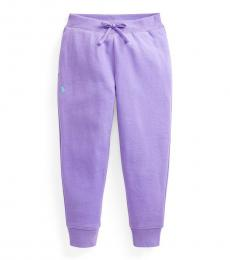 Ralph Lauren Little Girls Hampton Purple Fleece Joggers
