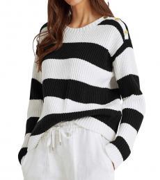 Ralph Lauren BlackWhite Striped Button-Trim Cotton Sweater