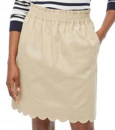 Light Khaki Scalloped Linen-Cotton Skirt