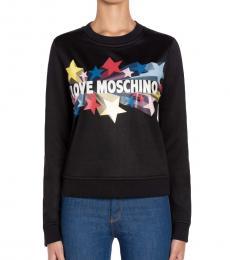 Love Moschino Black Crew Neck Logo Grapghic Sweatshirt