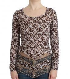 Brown Long Sleeved Lace Top