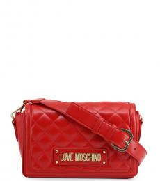 Love Moschino Red Quilted Flap Small Crossbody