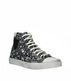 Black Printed High Top Sneakers