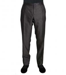 Dark Grey Wool Silk Patterned Trousers