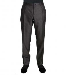 Dolce & Gabbana Dark Grey Wool Silk Patterned Trousers