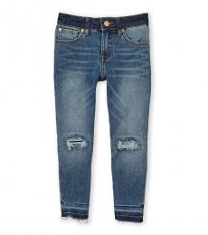 7 For All Mankind Girls Blue Eddy Luxe Vintage Distressed Jeans