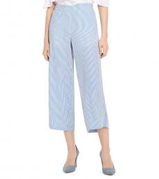 Light Blue Linen Cropped Pants