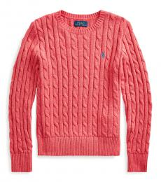 Ralph Lauren Girls Geranium Heather Cable-Knit Sweater