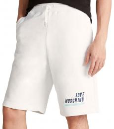 Optical White Embroidered Logo Shorts