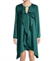 Teal Ruffle Front Dress