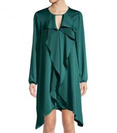 BCBGMaxazria Teal Ruffle Front Dress