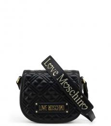 Love Moschino Black Logo Strap Quilted Small Crossbody