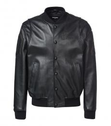 Dsquared2 Black Solid Leather Jacket