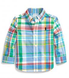 Baby Boys Blue Stretch Poplin Shirt