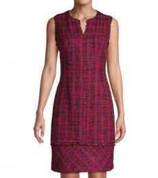 Karl Lagerfeld Dark Pink Tweed Sheath Dress