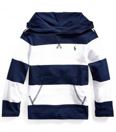 Little Boys White Striped Hooded T-Shirt