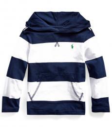 Ralph Lauren Little Boys White Striped Hooded T-Shirt