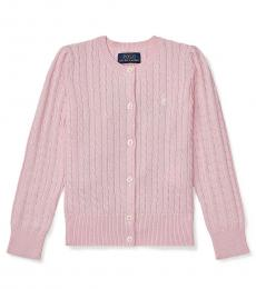 Little Girls Pink Mini-Cable Cardigan