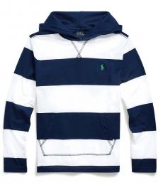 Boys White Striped Hooded T-Shirt
