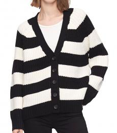 Black Button-Front Boyfriend Cardigan