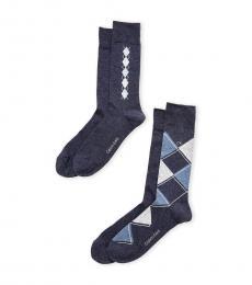 Dark Blue 4-Pack Argyle Crew Socks