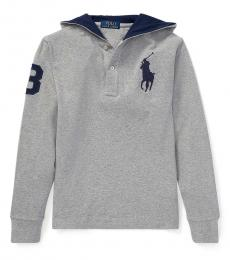 Ralph Lauren Boys Andover Heather Big Pony Hooded T-Shirt