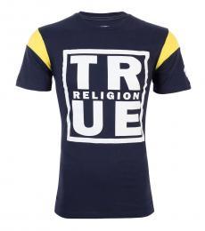Dark Blue Square Football T-Shirt