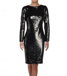 Ralph Lauren Black Sequined Houndstooth Dress