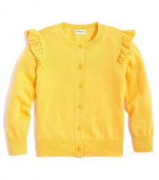 J.Crew Girls Golden Yellow Ruffle-Trimmed Cardigan