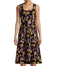 Kate Spade Black Jacquard Floral A-Line Sweater Dress
