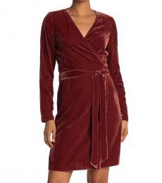 Diane Von Furstenberg Brown Julian Velvet Wrap Mini Dress