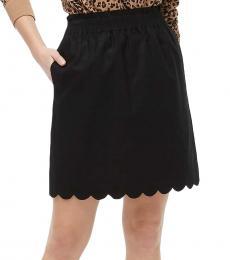 Black Scalloped Linen-Cotton Skirt