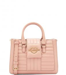 Love Moschino Light Pink Quilted Small Satchel