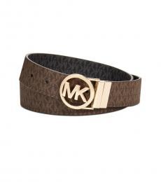 Michael Kors Chocolate Black-Gold Reversible Belt