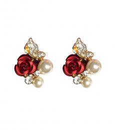 Red Roses Pearls Earrings