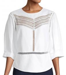 Bright White Lace Cotton-Blend Top