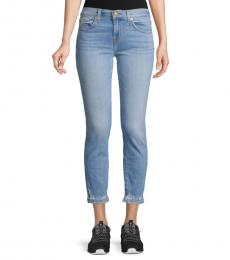 7 For All Mankind Light Blue Roxanne Distressed Ankle Jeans