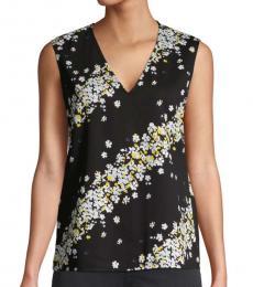 Diane Von Furstenberg Black Floral-Print Sleeveless Top