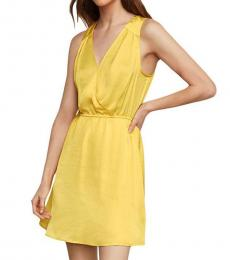 BCBGMaxazria Yellow Satin A-Line Mini Dress