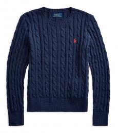 Ralph Lauren Girls Spring Navy Heather Cable-Knit Sweater