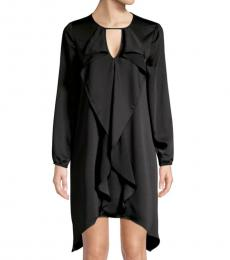 BCBGMaxazria Black Ruffle Front Dress