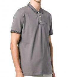 Grey Striped Rib Stretch Polo