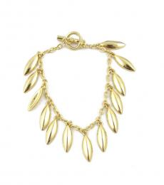 Gold Leaf Charms Toggle Bracelet