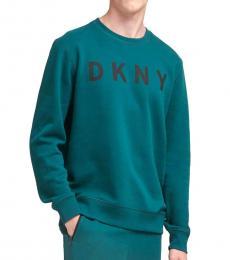 DKNY Deep Teal Logo Fleece Pullover