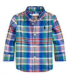 Ralph Lauren Baby Boys Royal Blue Stretch Poplin Shirt