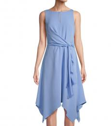 Karl Lagerfeld Light Blue Asymmetric Fit-&-Flare Dress